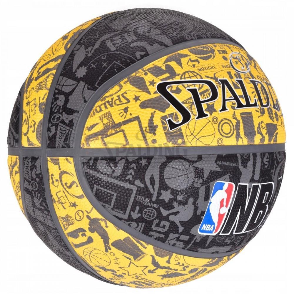 Баскетбольний м'яч Spalding NBA Graffiti Outdoor Grey/Yellow Розмір 7