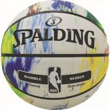 Баскетбольний м'яч Spalding NBA Marble Black White Outdoor Розмір 7