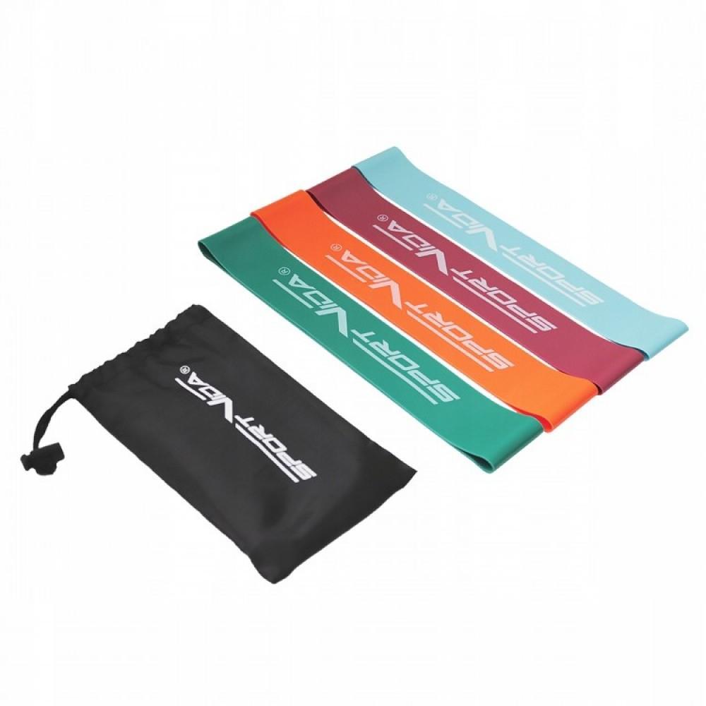 Набір з 4 еластичних стрічок для фітнесу SportVida Mini Power Band, 0-20 кг