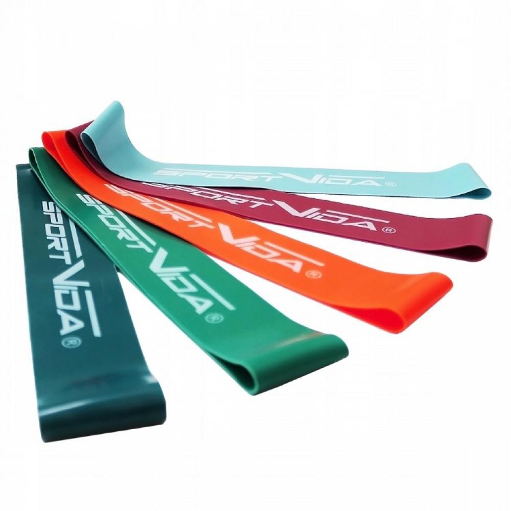 Набір з 5 еластичних стрічок для фітнесу SportVida Mini Power Band, 0-25 кг