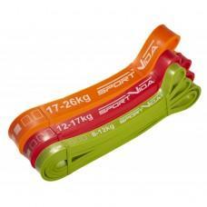 Набір з 3 еластичних стрічок для фітнесу SportVida Power Band, 8-26 кг