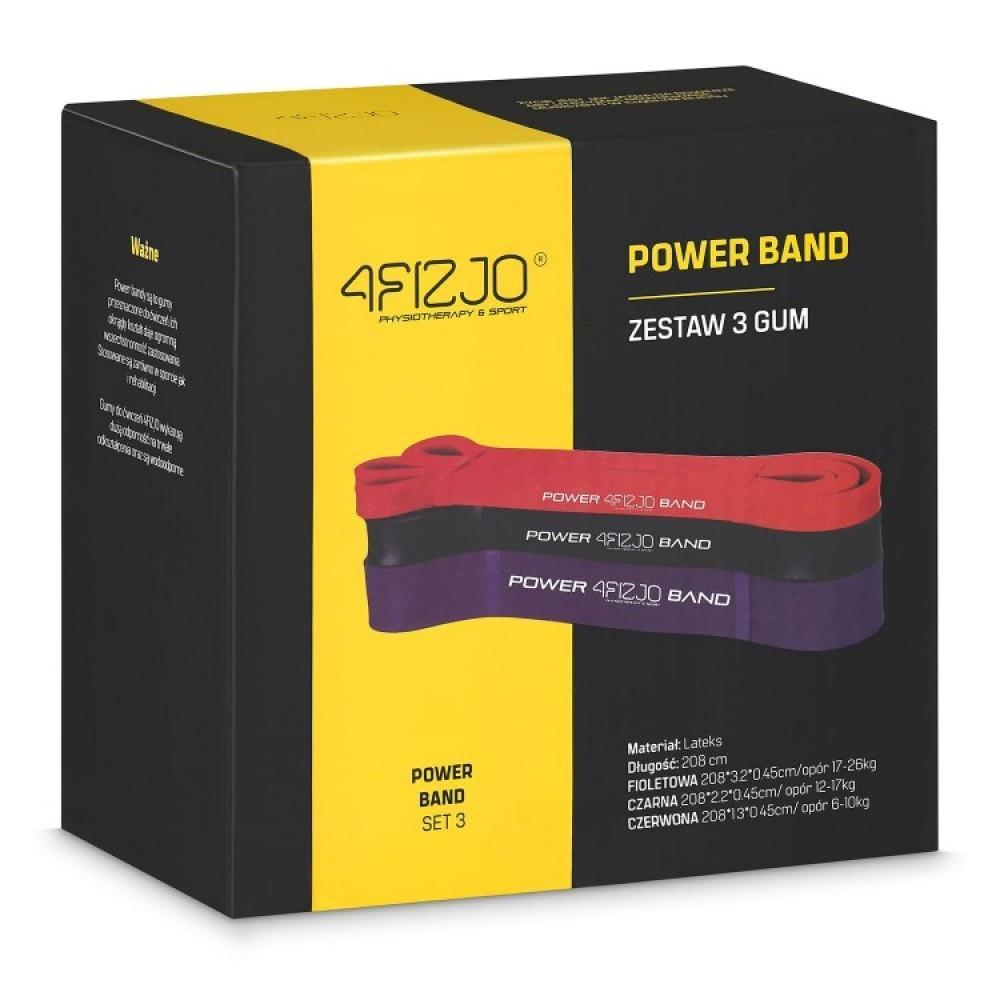 Набір з 3 еластичних стрічок для фітнесу 4FIZJO, 6-26 кг