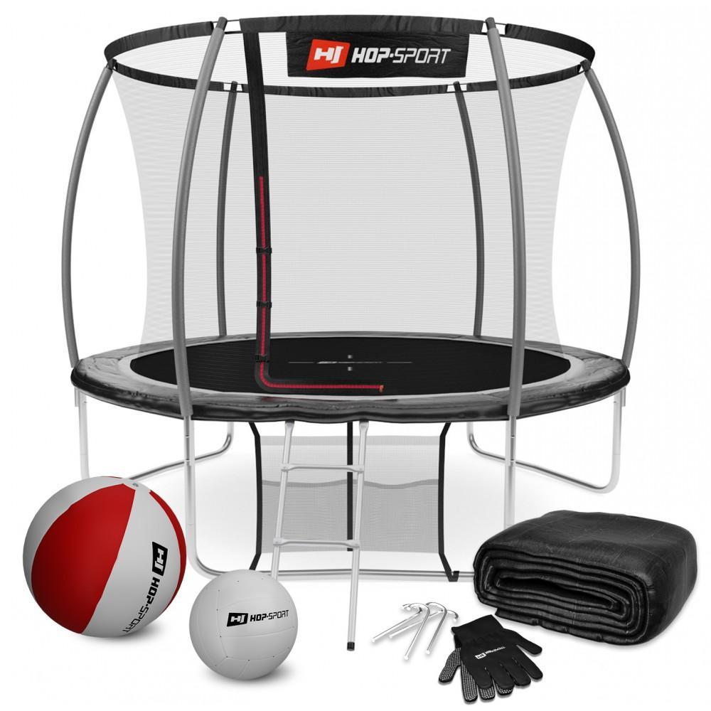 Батут Hop-Sport Premium Black/Grey 305 см c внутренней сеткой