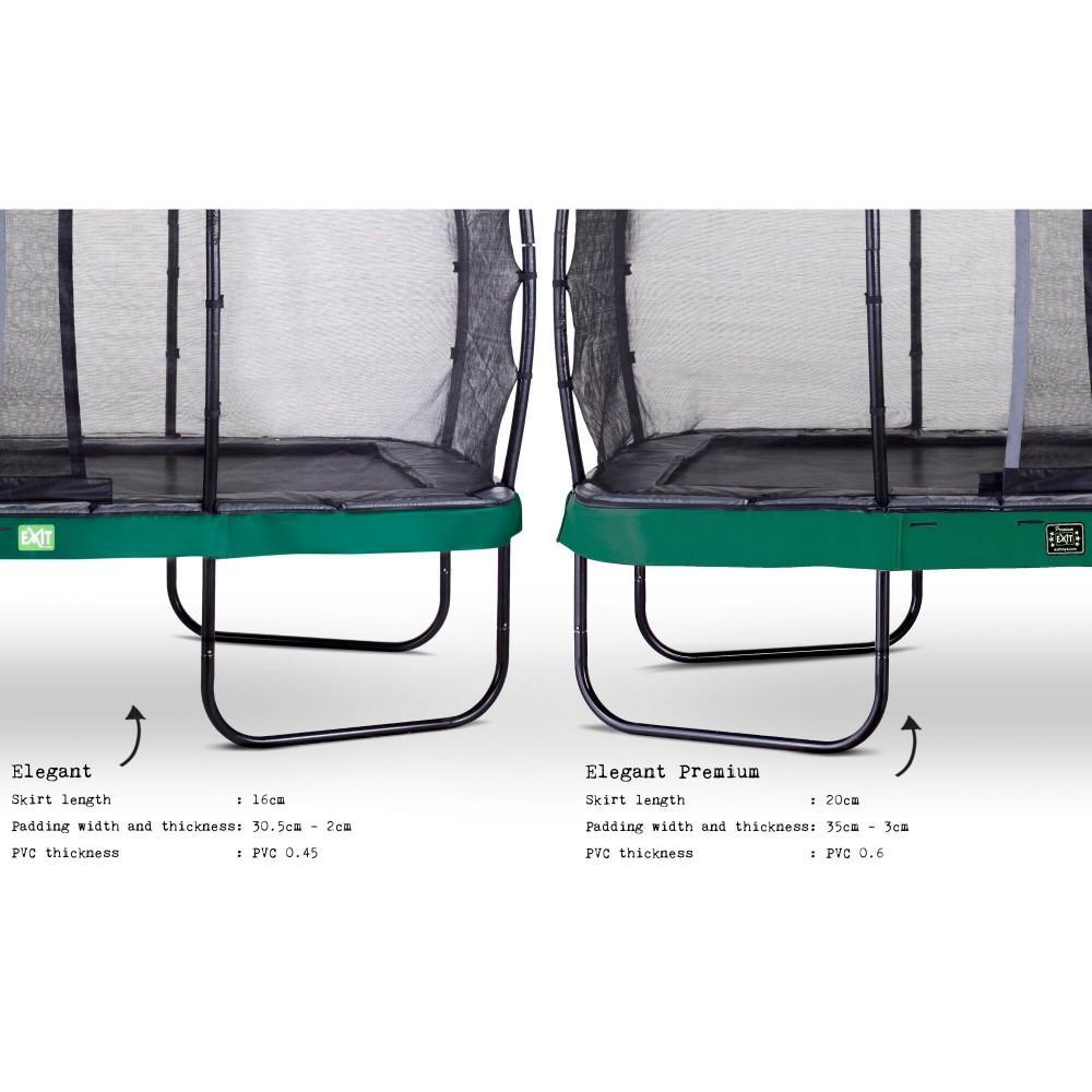 Батут Exit Elegant Premium Green 214x366 см з сіткою Deluxe