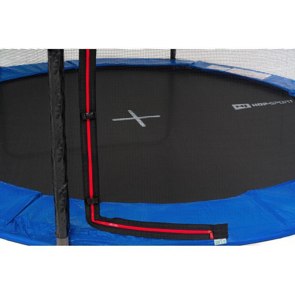 Батут Hop-Sport Black/Blue 244 см з зовнішньою сіткою і драбинкою