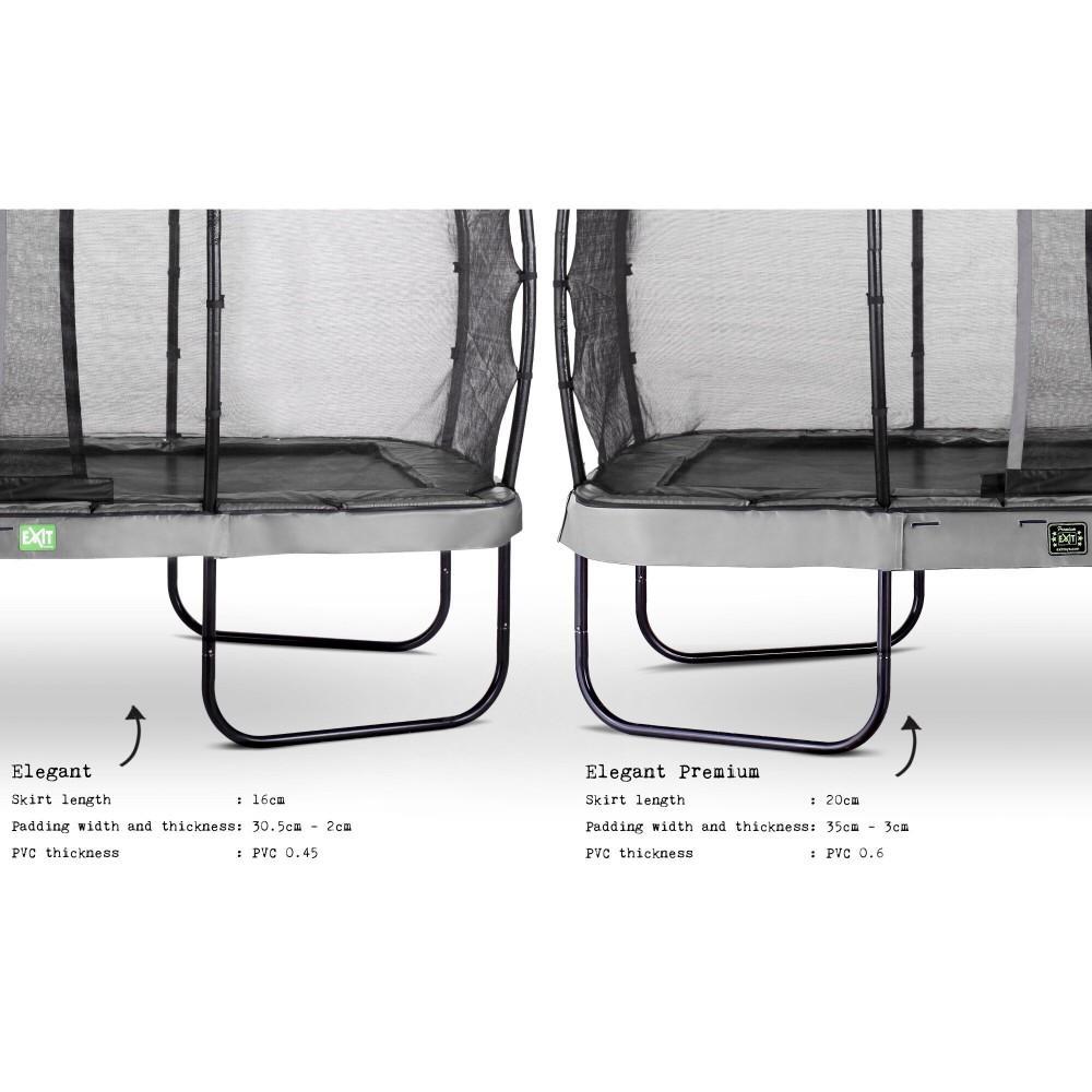 Батут Exit Elegant Premium Grey 214x366 см з сіткою Deluxe