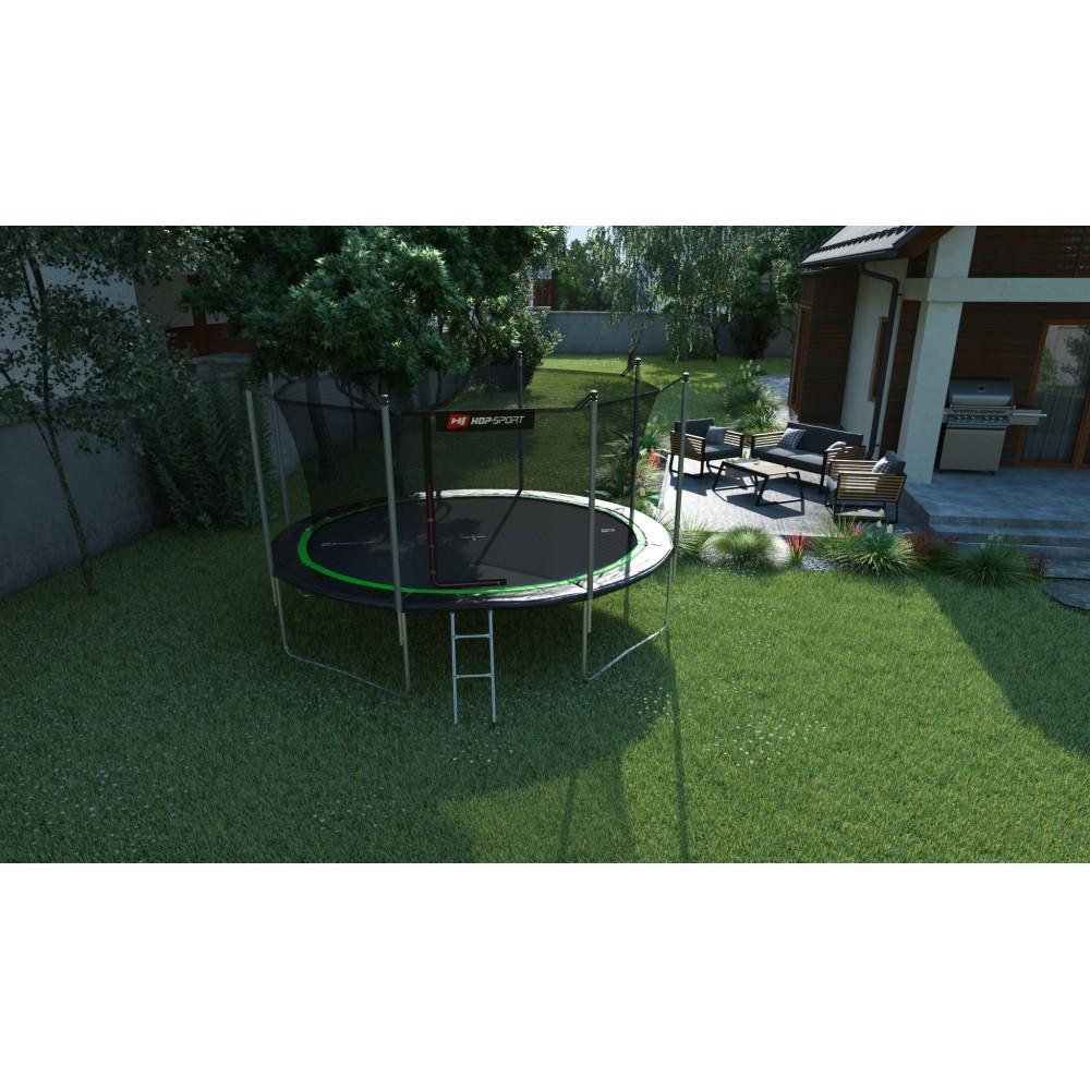 Батут Hop-Sport Black/Green 366 см з внутрішньою сіткою і драбинкою