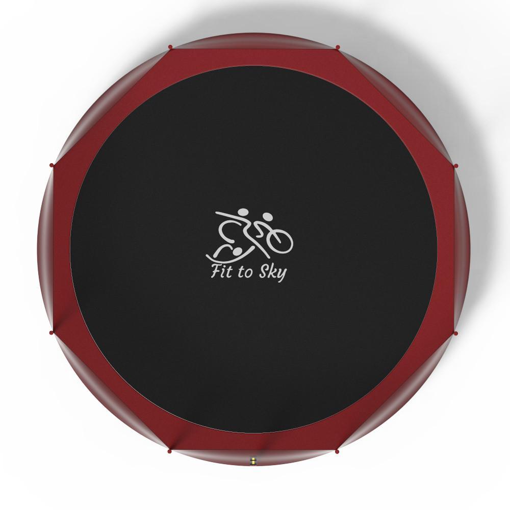Батут FitToSky 404 см Red з зовнішньою сіткою і драбинкою