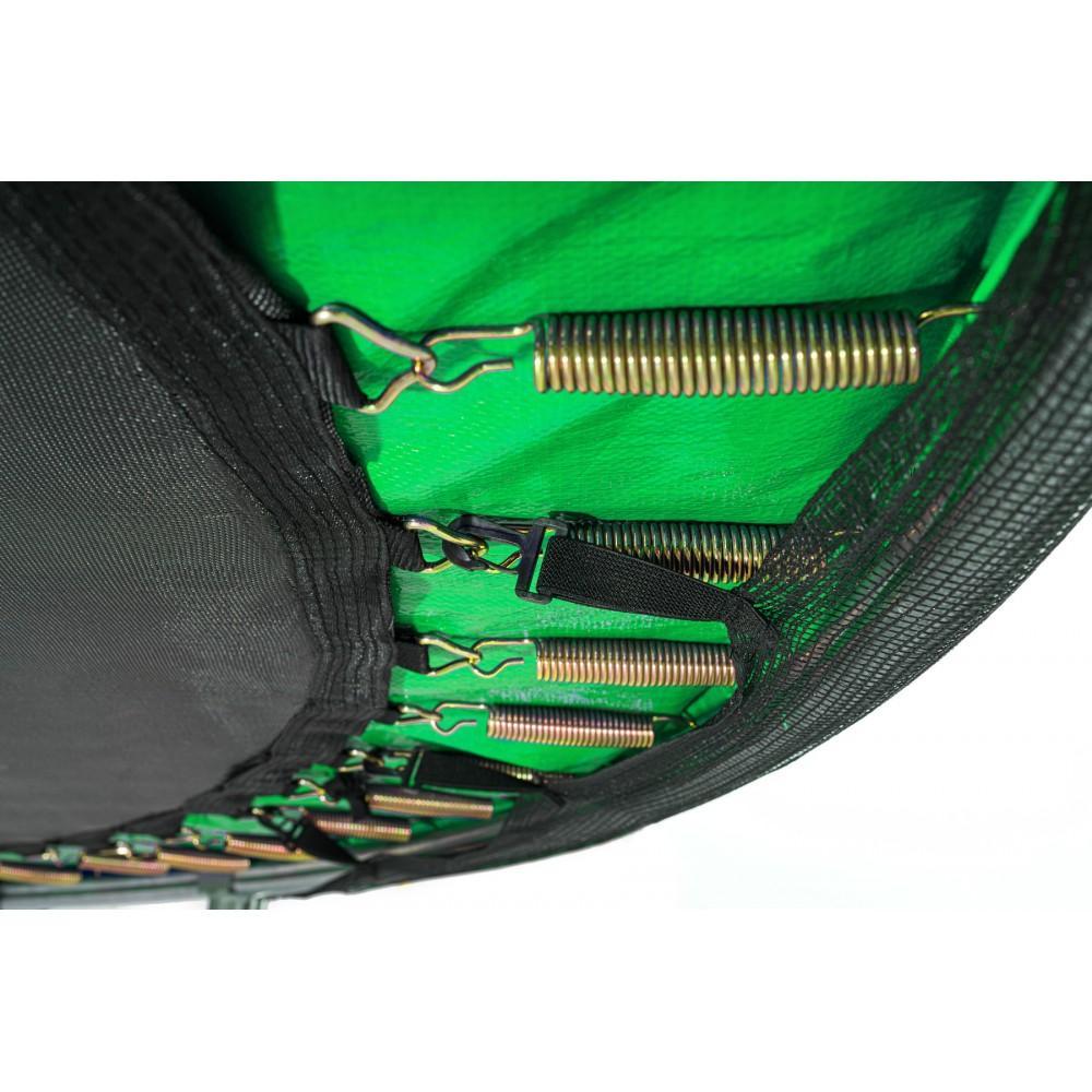Батут Hop-Sport Black/Green 427 см з зовнішньою сіткою і драбинкою