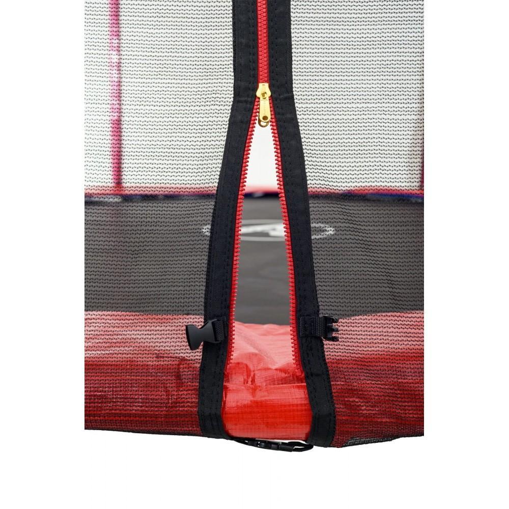 Батут Atleto Red 183 см з зовнішньої сіткою і драбинкою