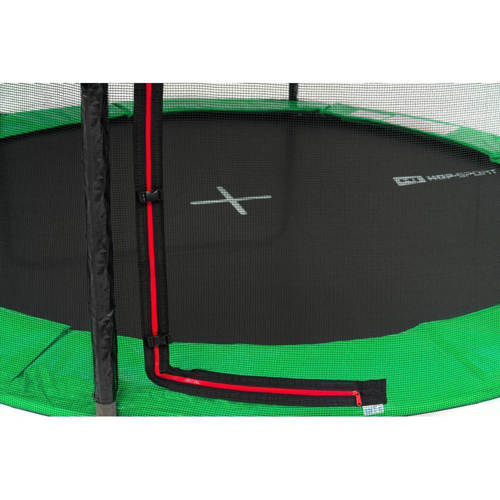 Батут Hop-Sport Black/Green 427 см з внутрішньою сіткою і драбинкою