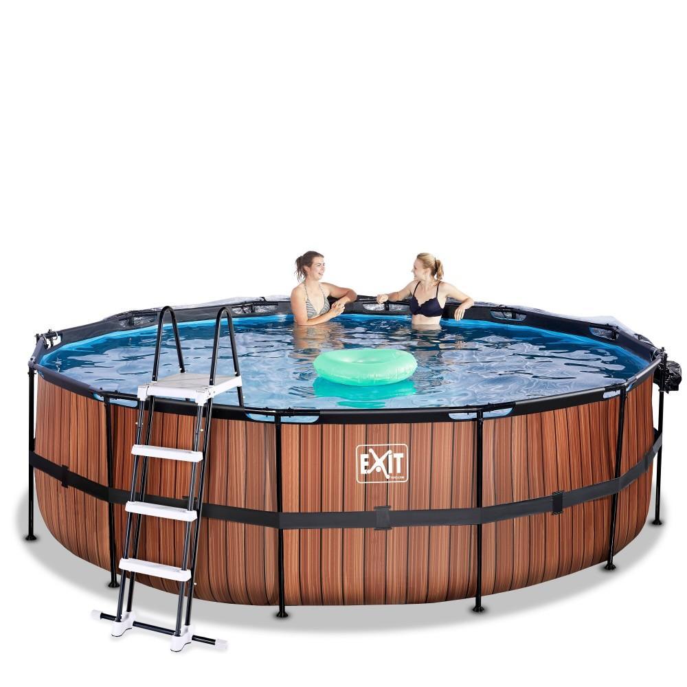 Каркасний басейн Exit Wood 450x122 см з пісочним фільтром-насосом, куполом, драбинкою і тепловим насосом