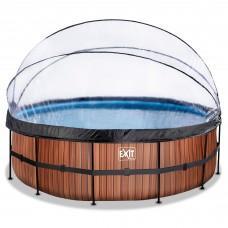 Басейн Exit Wood 450x122 см з пісочним фільтром-насосом, куполом, драбинкою і тепловим насосом