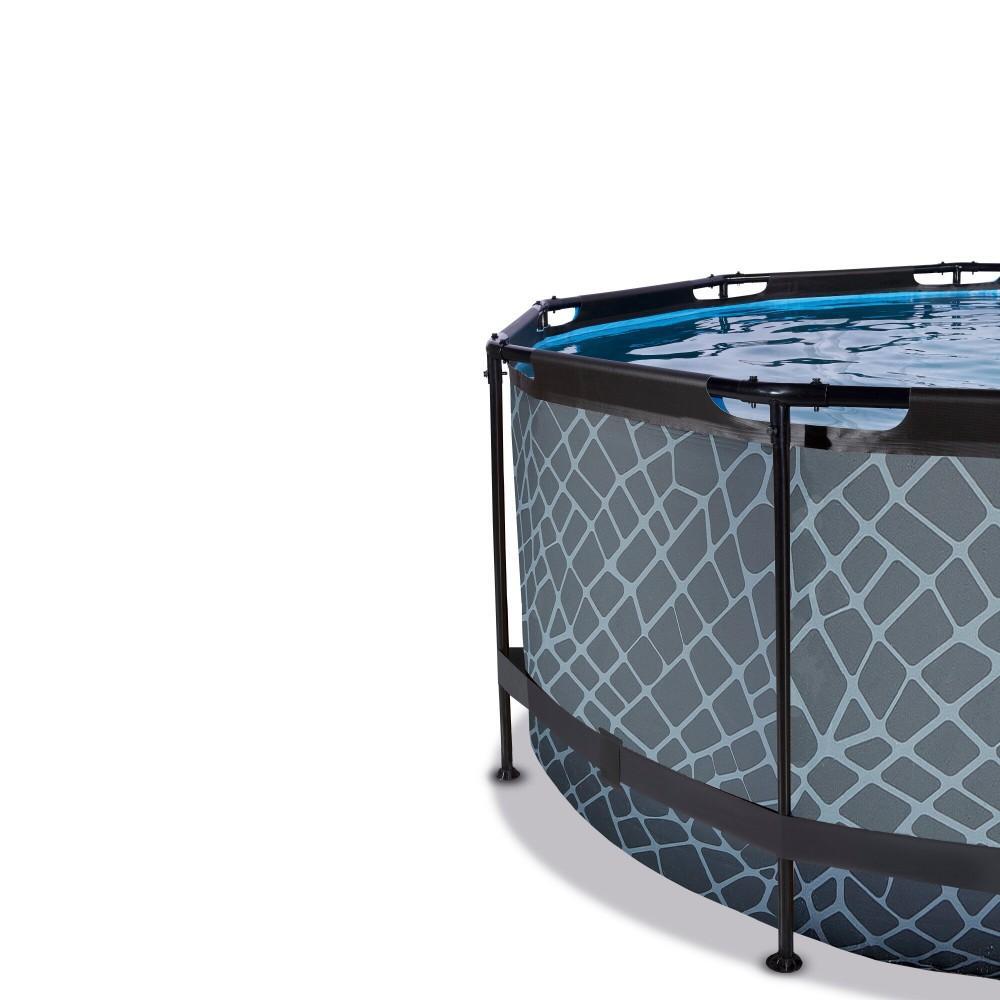 Каркасний басейн Exit Stone 360x122 см з пісочним фільтром-насосом, куполом і драбинкою