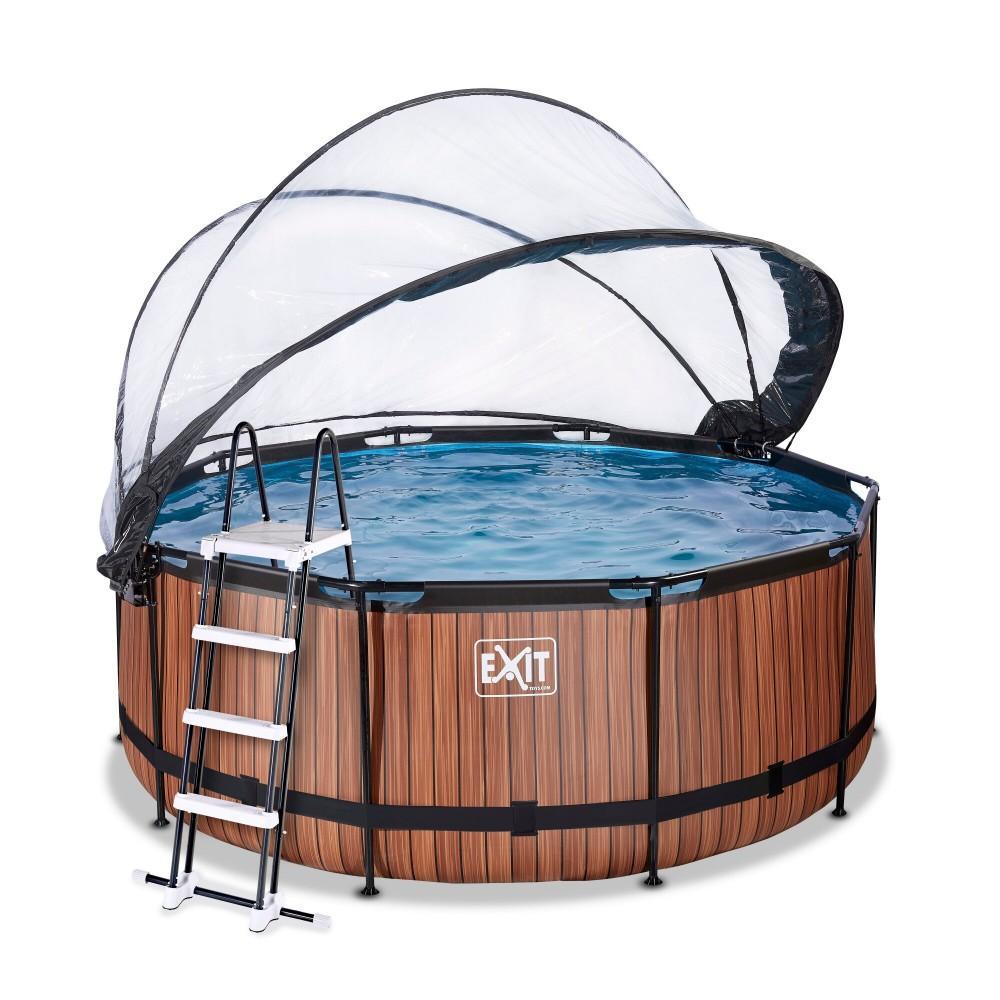Каркасний басейн Exit Wood 360x122 см з пісочним фільтром-насосом, куполом і драбинкою