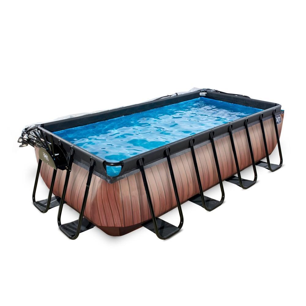 Каркасний басейн Exit Wood 400x200х100 см з пісочним фільтром-насосом, куполом і драбинкою