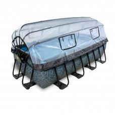 Басейн Exit Stone 400x200х100 см з пісочним фільтром-насосом, куполом, драбинкою і тепловим насосом