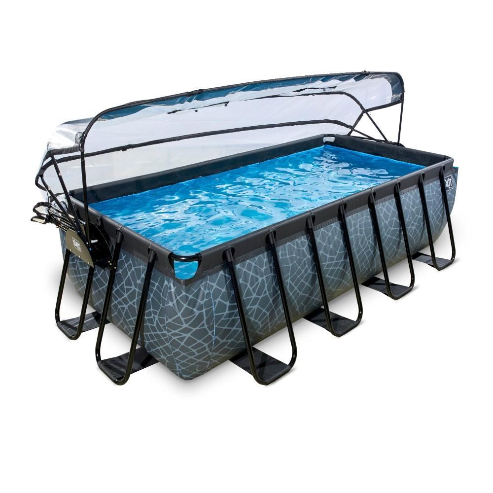 Каркасний басейн Exit Stone 400x200х100 см з пісочним фільтром-насосом, куполом, драбинкою і тепловим насосом