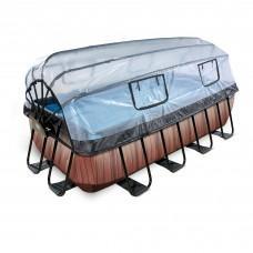 Басейн Exit Wood 400x200х100 см з пісочним фільтром-насосом, куполом, драбинкою і тепловим насосом