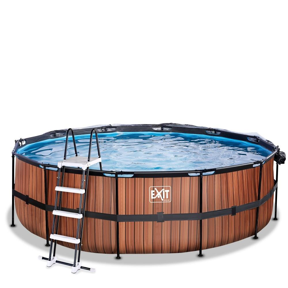 Каркасний басейн Exit Wood 450x122 см з пісочним фільтром-насосом, куполом і драбинкою