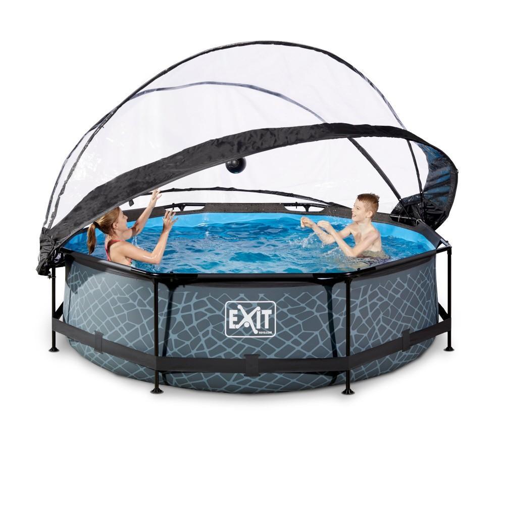 Каркасний басейн Exit Stone 300x76 см з картріджним фільтром-насосом і куполом