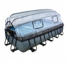 Басейн Exit Stone 540x250х100 см з пісочним фільтром-насосом, куполом, драбинкою і тепловим насосом