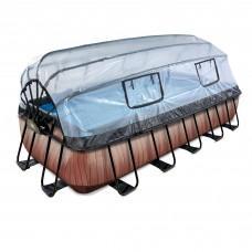 Басейн Exit Wood 540x250х100 см з пісочним фільтром-насосом, куполом, драбинкою і тепловим насосом