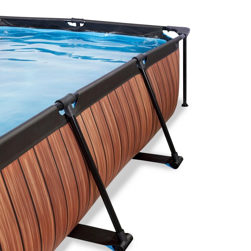 Каркасний басейн Exit Wood 300x200х65 см з картриджним фільтром-насосом і куполом