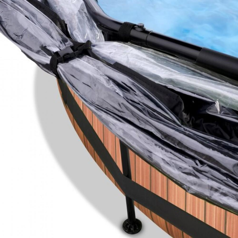 Басейн Exit Wood 244x76 см з фільтром-насосом, куполом і тентом