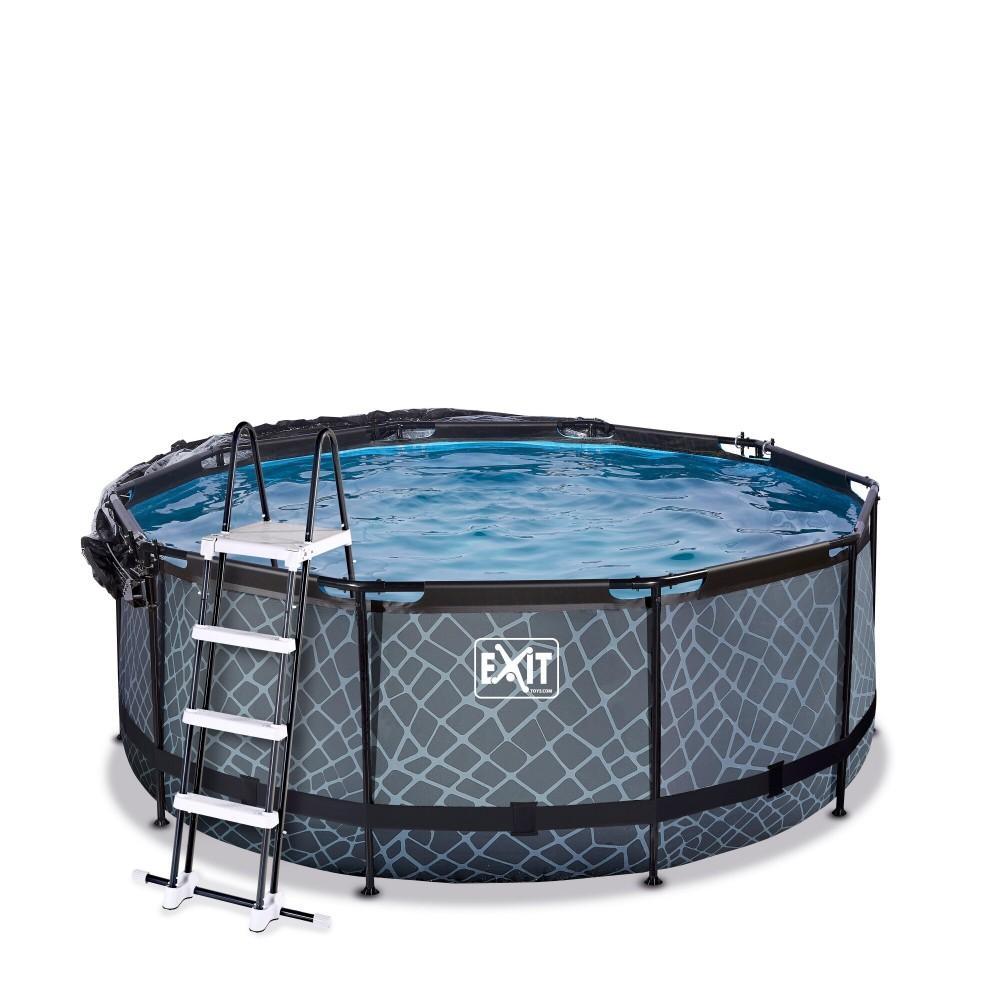 Каркасний басейн Exit Stone 360x122 см з картріджним фільтром-насосом, куполом і драбинкою