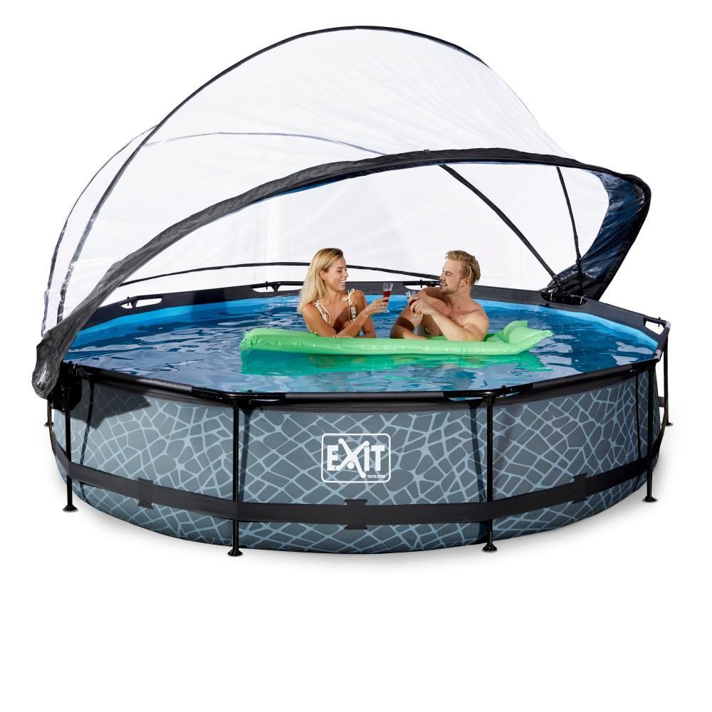 Каркасний басейн Exit Stone 360x76 см з картріджним фільтром-насосом і куполом