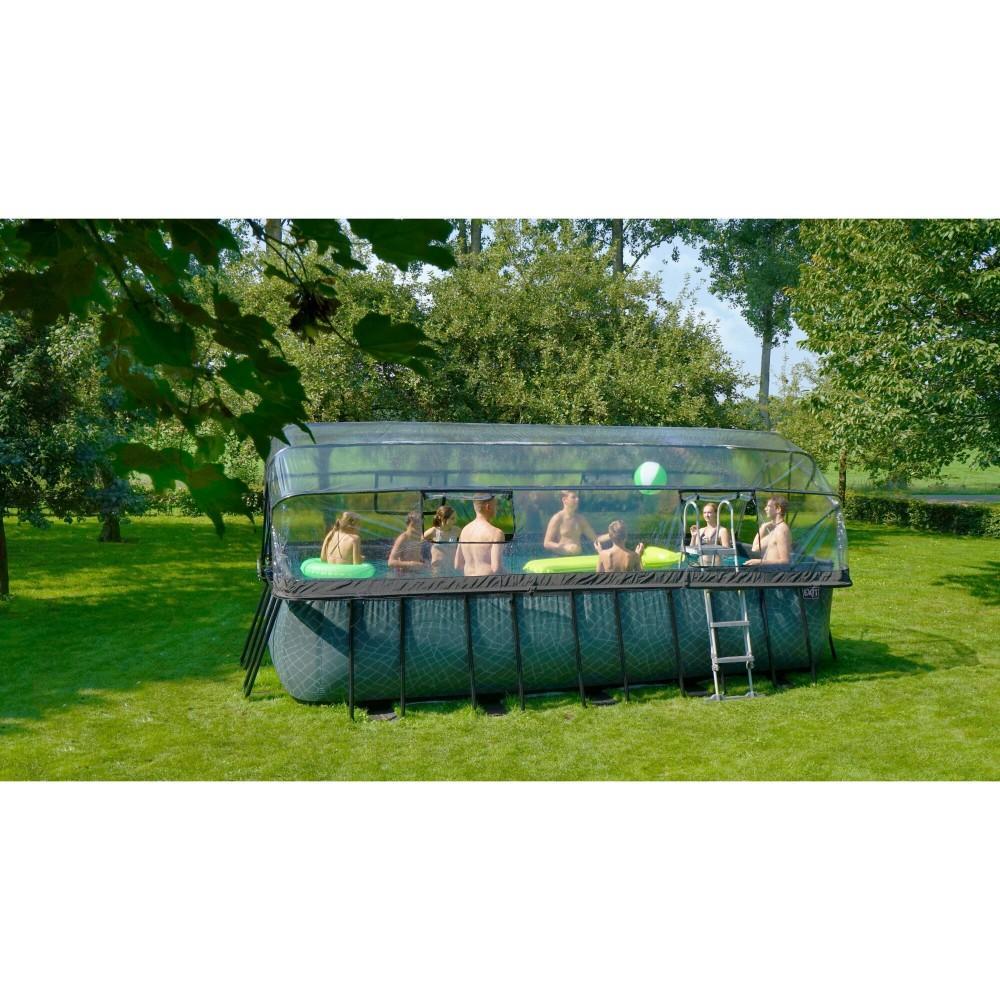 Каркасний басейн Exit Stone 540x250х122 см з пісочним фільтром-насосом, куполом, драбинкою і тепловим насосом