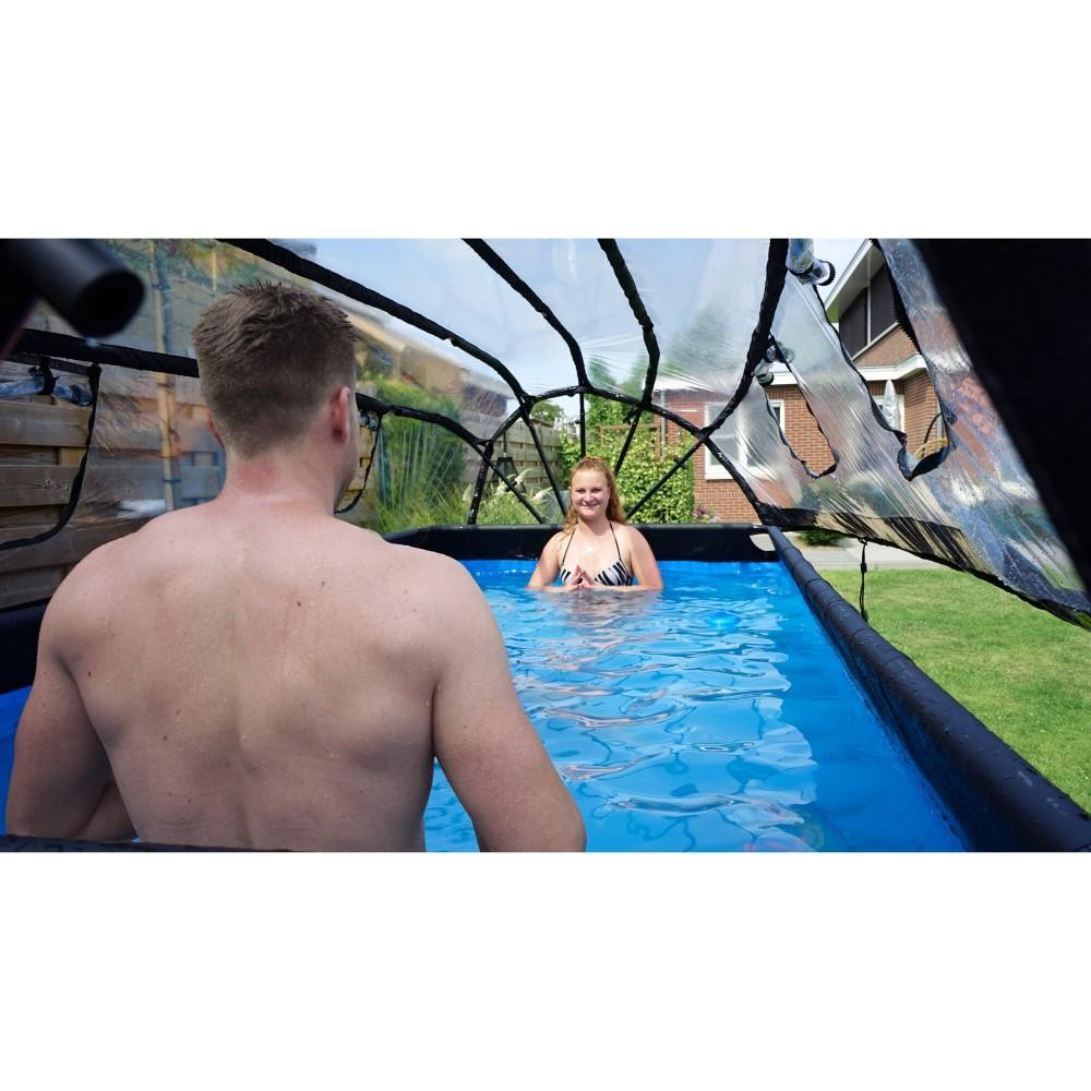Каркасний басейн Exit Stone 400x200х100 см з фільтром-насосом, куполом і драбинкою