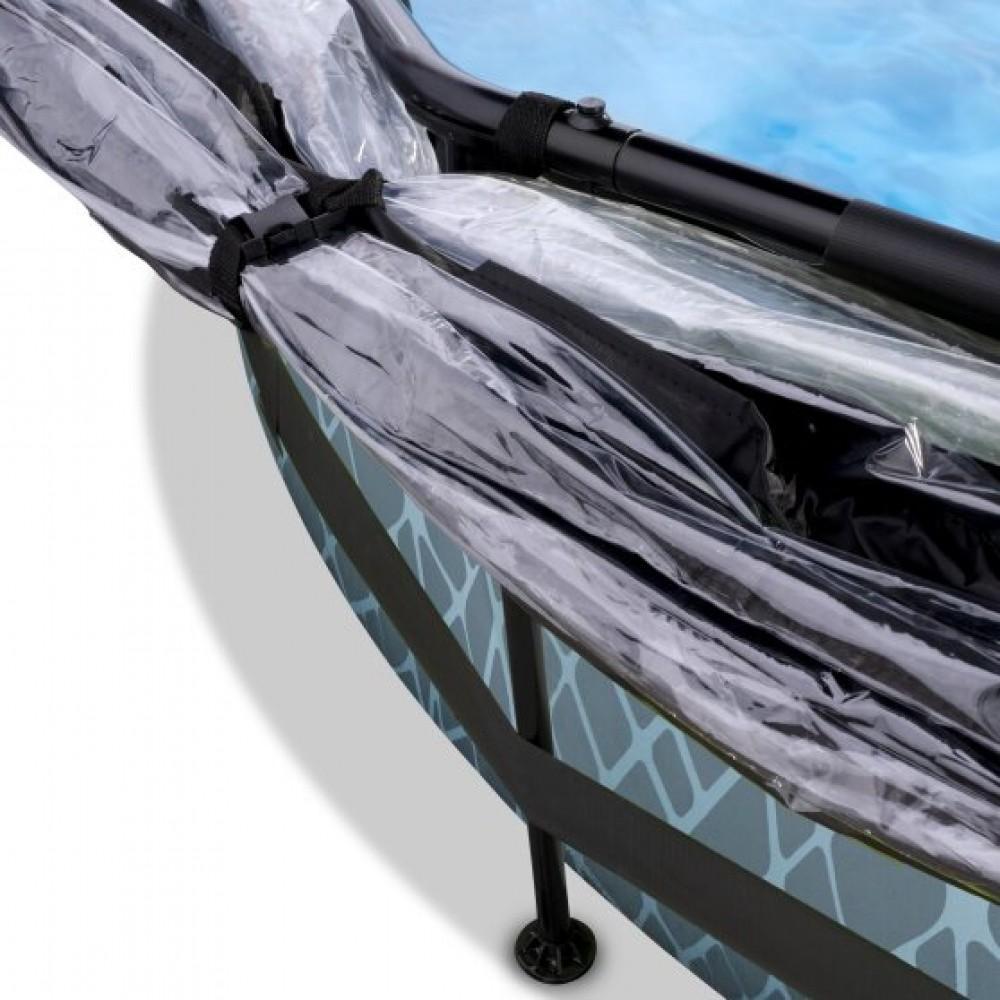 Басейн Exit Stone 244x76 см з фільтром-насосом і куполом