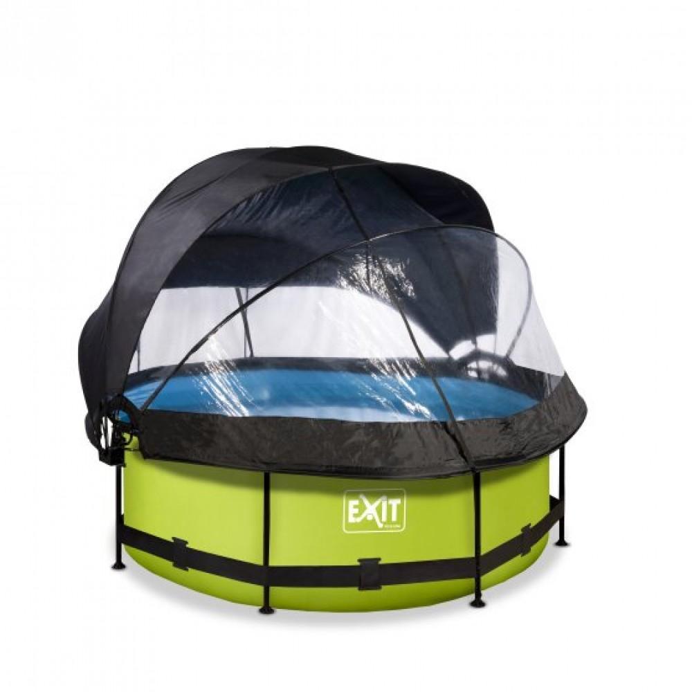 Басейн Exit Lime 244x76 см з фільтром-насосом, куполом і тентом