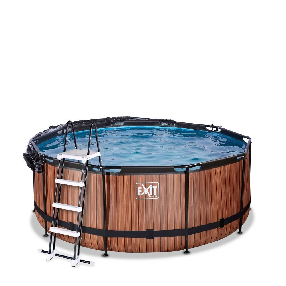 Каркасний басейн Exit Wood 360x122 см з пісочним фільтром-насосом, куполом, драбинкою і тепловим насосом