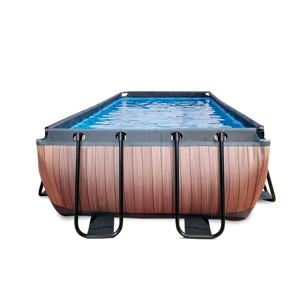 Каркасний басейн Exit Wood 400x200х100 см з фільтром-насосом, куполом і драбинкою