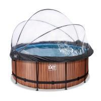 Басейн Exit Wood 360x122 см з пісочним фільтром-насосом, куполом, драбинкою і тепловим насосом